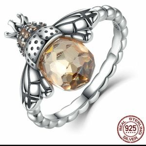 S925 Sterling Silver Ring Little Bee CZ Ring